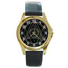 Cult Of Occult Death Detal Hardcore Heavy Round Gold Metal Watch