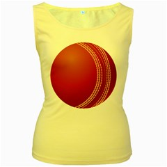 Cricket Ball Women s Yellow Tank Top