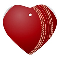 Cricket Ball Heart Ornament (Two Sides)