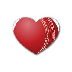 Cricket Ball Rubber Coaster (Heart)