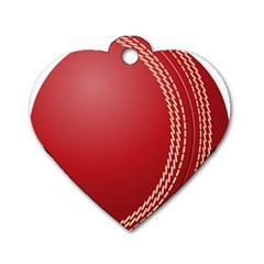 Cricket Ball Dog Tag Heart (Two Sides)