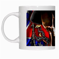 Confederate Flag Usa America United States Csa Civil War Rebel Dixie Military Poster Skull White Mugs