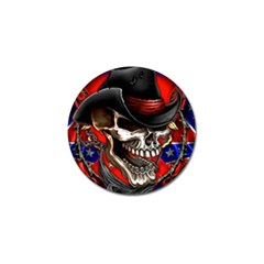 Confederate Flag Usa America United States Csa Civil War Rebel Dixie Military Poster Skull Golf Ball Marker