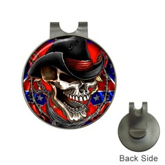 Confederate Flag Usa America United States Csa Civil War Rebel Dixie Military Poster Skull Hat Clips with Golf Markers