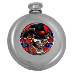 Confederate Flag Usa America United States Csa Civil War Rebel Dixie Military Poster Skull Round Hip Flask (5 oz)