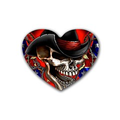 Confederate Flag Usa America United States Csa Civil War Rebel Dixie Military Poster Skull Heart Coaster (4 pack)