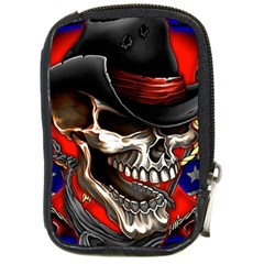 Confederate Flag Usa America United States Csa Civil War Rebel Dixie Military Poster Skull Compact Camera Cases