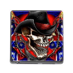 Confederate Flag Usa America United States Csa Civil War Rebel Dixie Military Poster Skull Memory Card Reader (square)