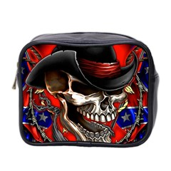 Confederate Flag Usa America United States Csa Civil War Rebel Dixie Military Poster Skull Mini Toiletries Bag 2-Side