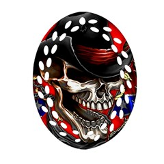 Confederate Flag Usa America United States Csa Civil War Rebel Dixie Military Poster Skull Ornament (Oval Filigree)