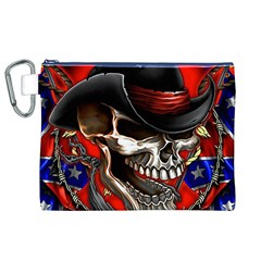 Confederate Flag Usa America United States Csa Civil War Rebel Dixie Military Poster Skull Canvas Cosmetic Bag (XL)