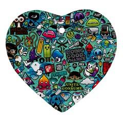Comics Collage Ornament (Heart)