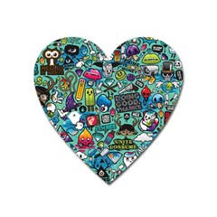 Comics Collage Heart Magnet