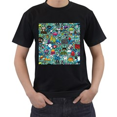 Comics Collage Men s T Shirt (black) (two Sided)