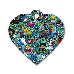 Comics Collage Dog Tag Heart (Two Sides)