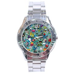 Comics Collage Stainless Steel Analogue Watch