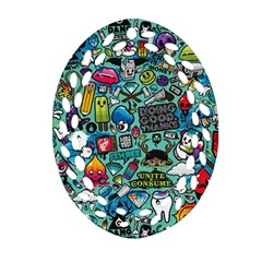 Comics Collage Oval Filigree Ornament (Two Sides)