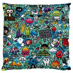 Comics Collage Large Flano Cushion Case (One Side)