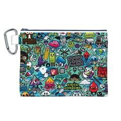 Comics Collage Canvas Cosmetic Bag (L)