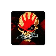 Five Finger Death Punch Heavy Metal Hard Rock Bands Skull Skulls Dark Square Magnet