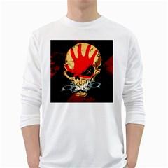 Five Finger Death Punch Heavy Metal Hard Rock Bands Skull Skulls Dark White Long Sleeve T-Shirts