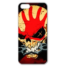 Five Finger Death Punch Heavy Metal Hard Rock Bands Skull Skulls Dark Apple Seamless iPhone 5 Case (Clear)