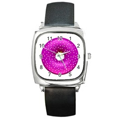 Donut Transparent Clip Art Square Metal Watch