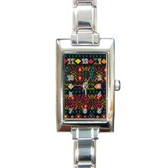 Ethnic Pattern Rectangle Italian Charm Watch
