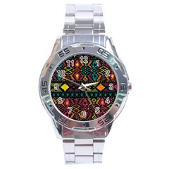 Ethnic Pattern Stainless Steel Analogue Watch
