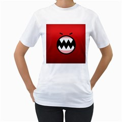 Funny Angry Women s T Shirt (white)