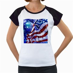 Flag Usa United States Of America Images Independence Day Women s Cap Sleeve T