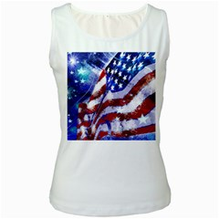 Flag Usa United States Of America Images Independence Day Women s White Tank Top