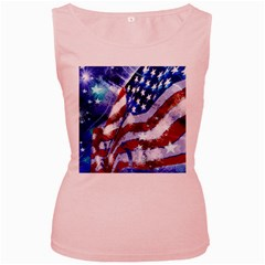 Flag Usa United States Of America Images Independence Day Women s Pink Tank Top