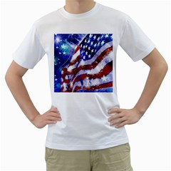 Flag Usa United States Of America Images Independence Day Men s T Shirt (white) (two Sided)