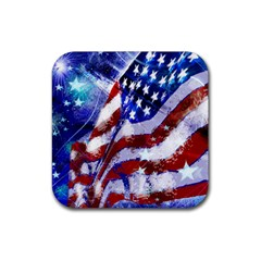 Flag Usa United States Of America Images Independence Day Rubber Square Coaster (4 Pack)