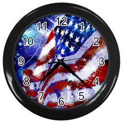Flag Usa United States Of America Images Independence Day Wall Clocks (Black)