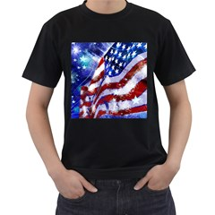Flag Usa United States Of America Images Independence Day Men s T-Shirt (Black) (Two Sided)