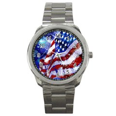 Flag Usa United States Of America Images Independence Day Sport Metal Watch