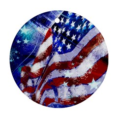 Flag Usa United States Of America Images Independence Day Round Ornament (Two Sides)