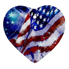 Flag Usa United States Of America Images Independence Day Heart Ornament (Two Sides)