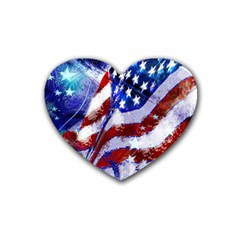 Flag Usa United States Of America Images Independence Day Rubber Coaster (Heart)