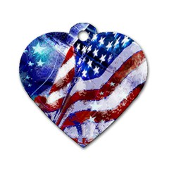 Flag Usa United States Of America Images Independence Day Dog Tag Heart (One Side)