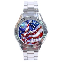 Flag Usa United States Of America Images Independence Day Stainless Steel Analogue Watch