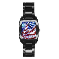 Flag Usa United States Of America Images Independence Day Stainless Steel Barrel Watch