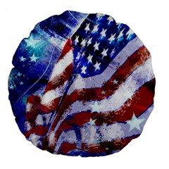 Flag Usa United States Of America Images Independence Day Large 18  Premium Flano Round Cushions