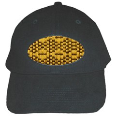 Golden Pattern Fabric Black Cap