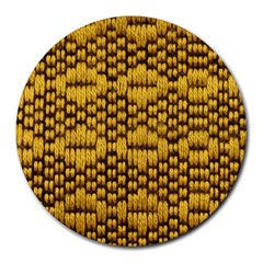 Golden Pattern Fabric Round Mousepads