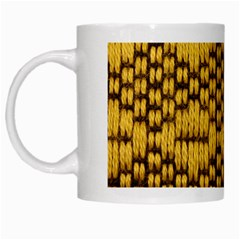 Golden Pattern Fabric White Mugs