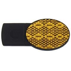 Golden Pattern Fabric USB Flash Drive Oval (1 GB)