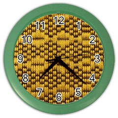 Golden Pattern Fabric Color Wall Clocks